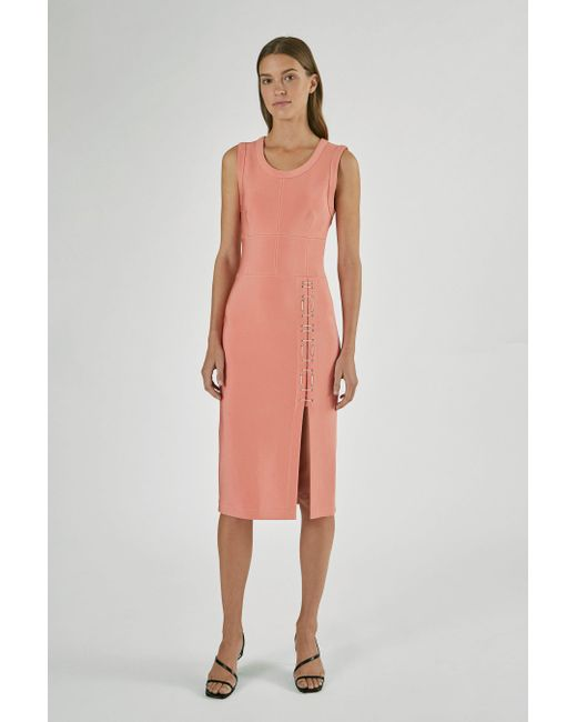 Yigal Azrouël Pink Mechanical Stretch Dress With Lacing