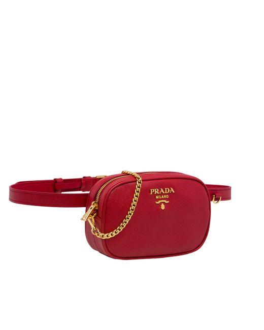 e15293ddae819f ... Prada - Red Saffiano Leather Belt Bag - Lyst ...