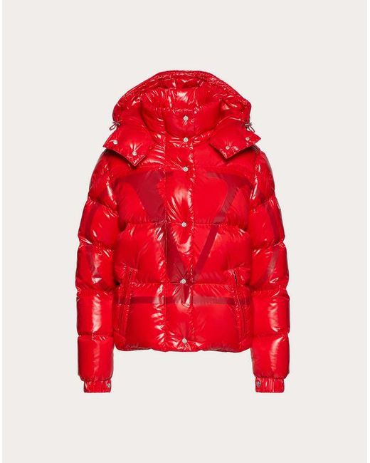 Valentino Moncler Vlogo Lacquered Nylon Padded Jacket