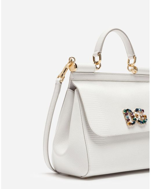 11c24dc1d1 ... Dolce & Gabbana - White Medium Calfskin Sicily Bag With Iguana Print  And Dg Crystal Logo ...