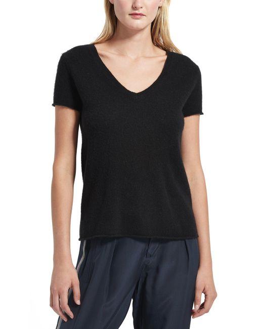 ATM - Black Cashmere Short Sleeve V-neck Sweater - Lyst