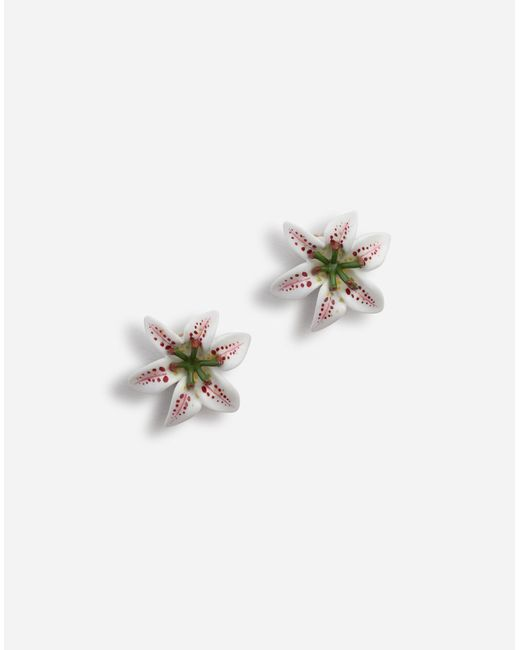 Dolce & Gabbana White Earrings With Resin Lily Embellishment