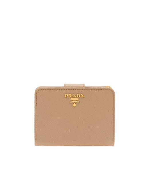 f8b3e8483a0d5 ... Prada - Natural Small Leather Wallet - Lyst ...