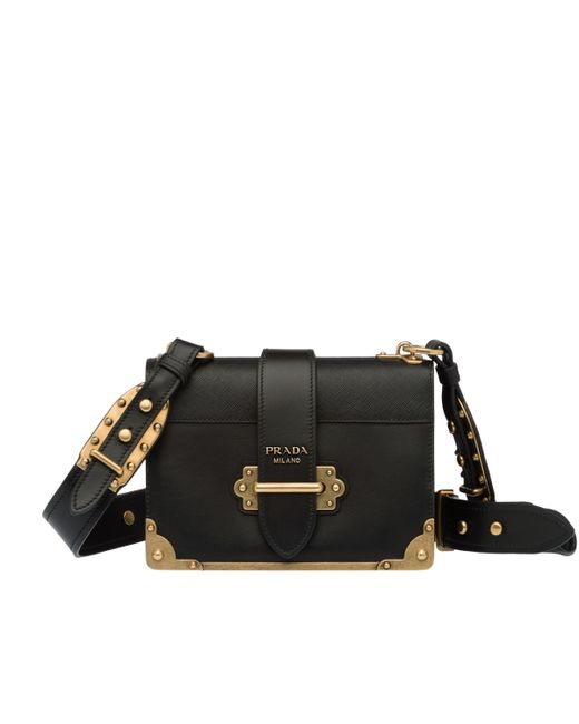 ... Prada - Black Cahier Leather Shoulder Bag - Lyst ... b78330cdfbffe