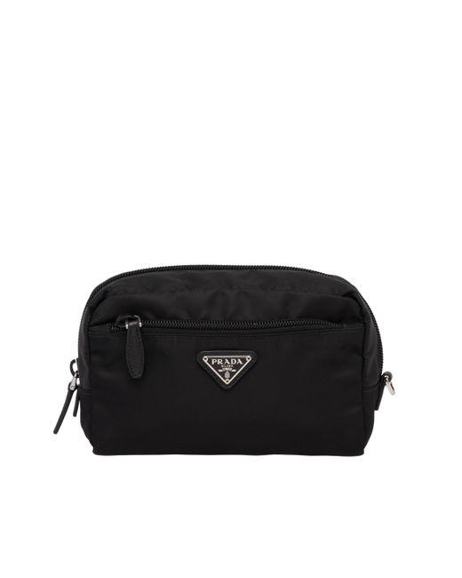 56d87c1a1b Prada - Black Fabric Cosmetic Pouch - Lyst ...
