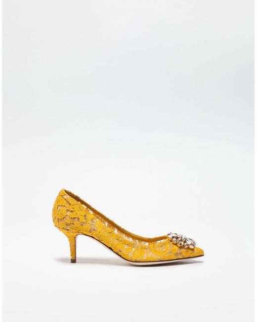 a4a15af135a Women's Yellow Bellucci Crystal-Embellished Lace Pumps
