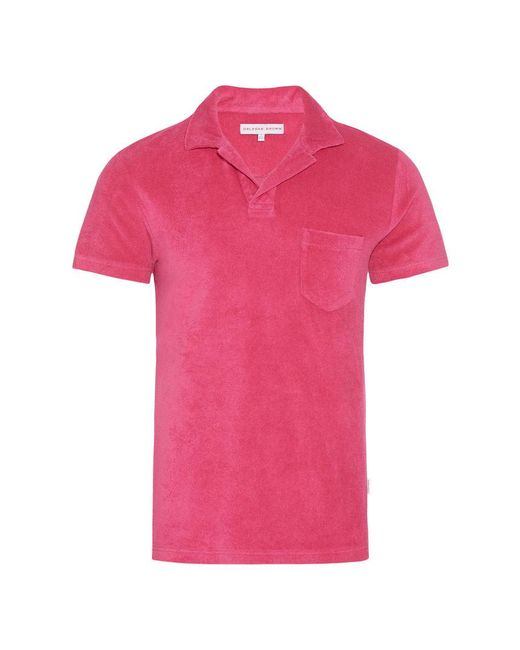 Orlebar Brown - Pink Terry Towelling Paradise Towelling Resort Polo for Men - Lyst