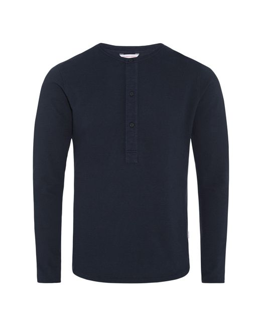 Orlebar Brown - Blue Craine Waffle Henley-t-shirt In Navy for Men - Lyst
