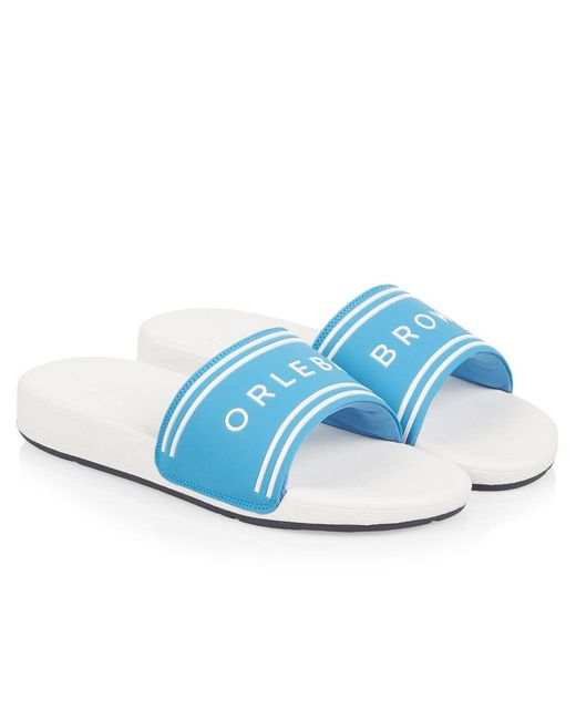 Orlebar Brown - Blue Haddon Riviera Logo Slide Sandals for Men - Lyst