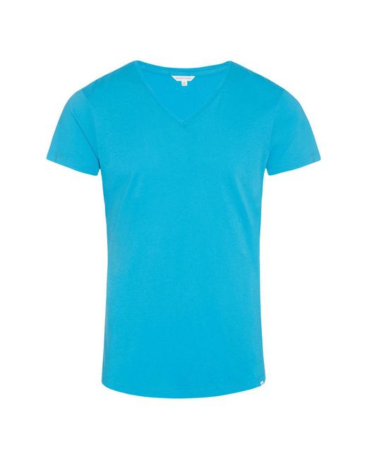 Orlebar Brown - Blue Ob-v T-shirt Mit V-ausschnitt Und Körperbetonter Passform In Azure for Men - Lyst
