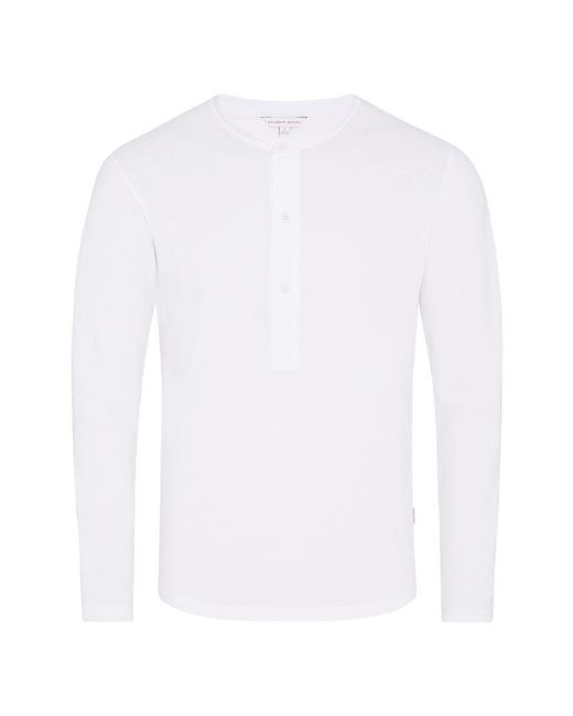 Orlebar Brown - Craine Waffle White Henley T-shirt for Men - Lyst