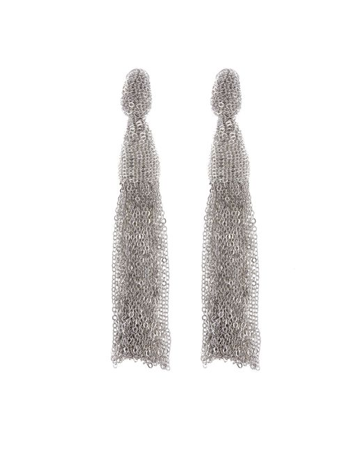 Oscar de la Renta | Metallic Classic Long Chain Tassel Earrings | Lyst