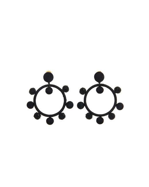 Oscar de la Renta - Black Carmine Silk Ball Hoop Earrings - Lyst