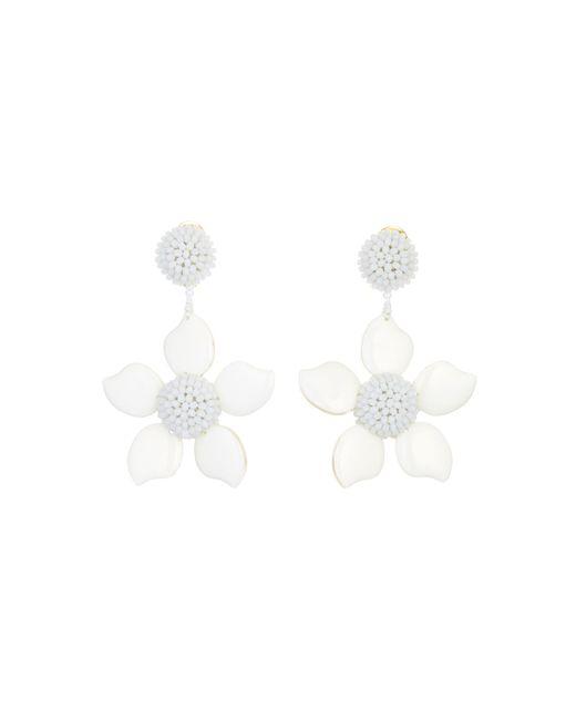 Oscar de la Renta - White Bold Resin Flower Earrings - Lyst
