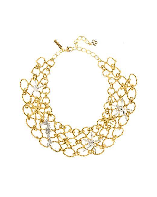 Oscar de la Renta - Metallic Fishnet Star Fish Necklace - Lyst