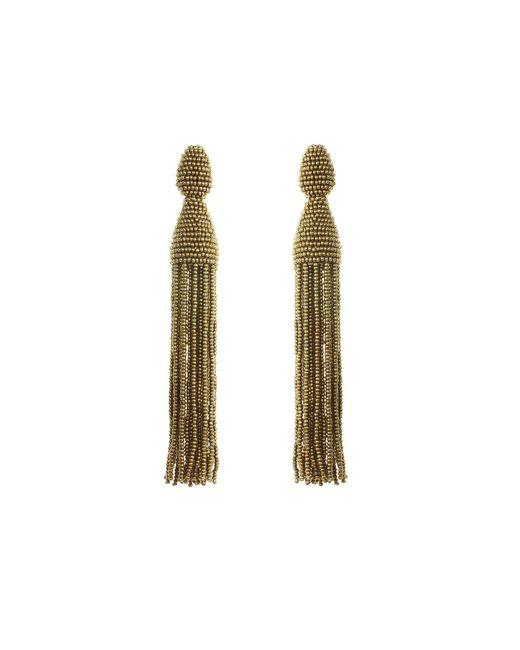 Oscar de la Renta | Metallic Beaded Tassel Clip Earrings | Lyst