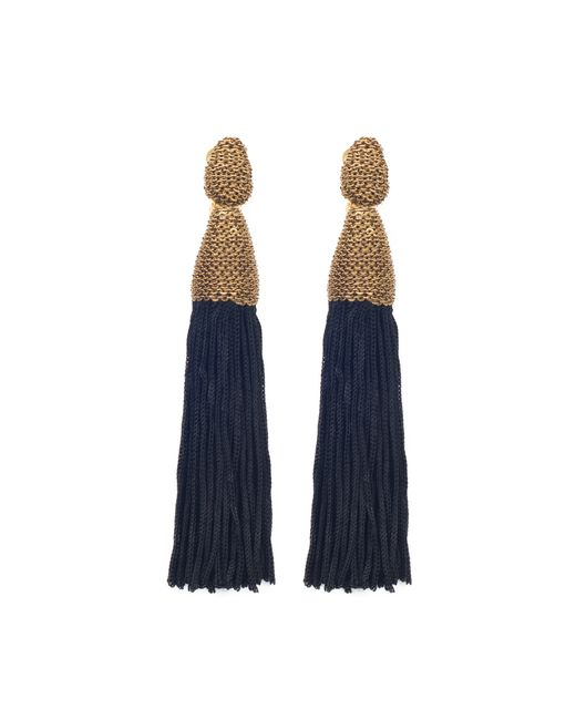 Oscar de la Renta   Blue Long Silk Tassel Earrings   Lyst