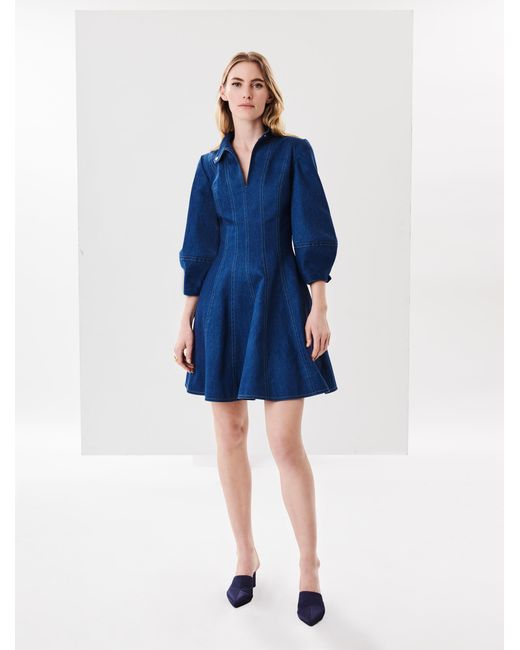 Oscar de la Renta - Blue Chambray Dress - Lyst