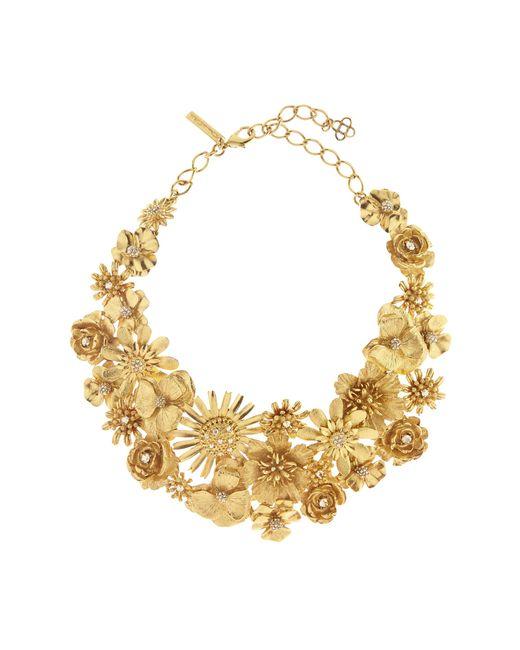 Oscar de la Renta | Multicolor Large Gilded Floral Necklace | Lyst
