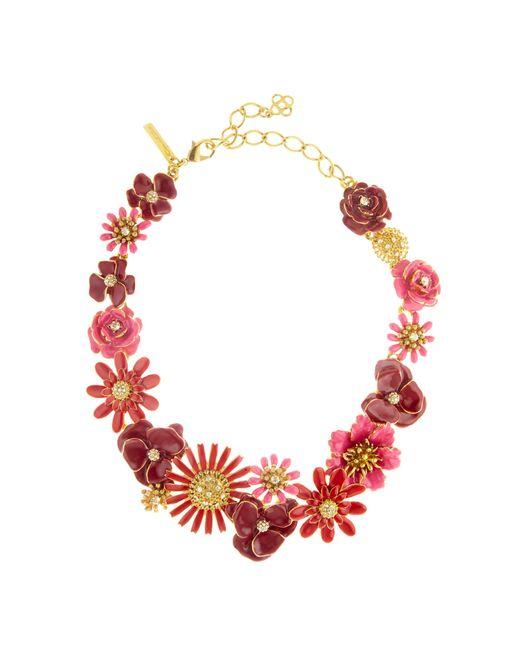 Oscar de la Renta | Pink Small Painted Floral Necklace | Lyst