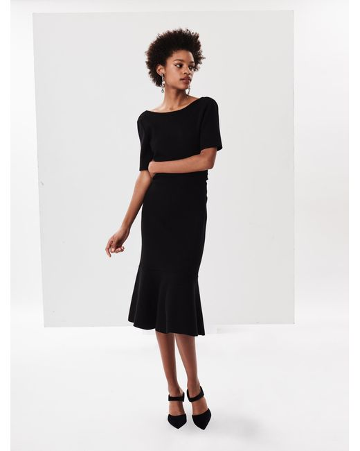 Oscar de la Renta - Black Knit Wool Dress - Lyst