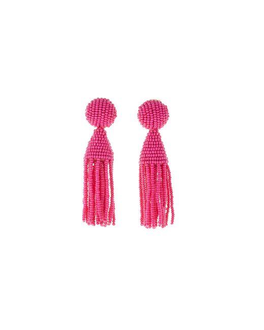Oscar de la Renta - Pink Short Tassel Earrings - Lyst