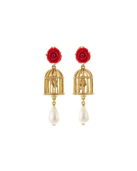 Oscar de la Renta - Metallic Birdcage Earrings - Lyst