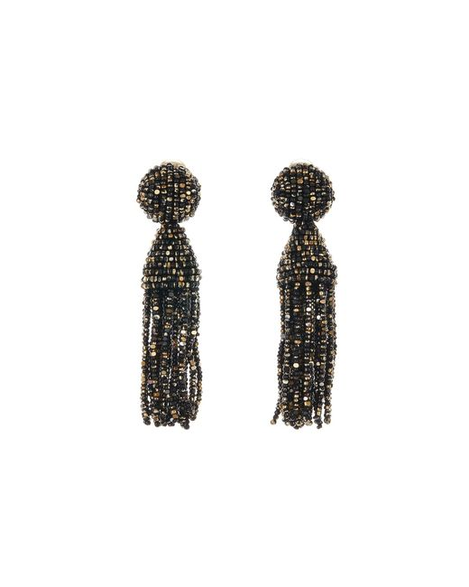 Oscar de la Renta - Black Beaded Tassel Drop Earrings - Lyst