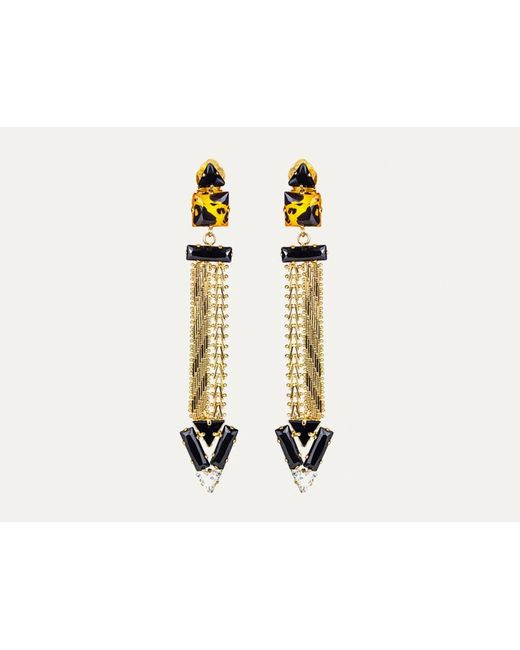Sabrina Dehoff | Metallic Art Deco Earrings With Dart Chain | Lyst