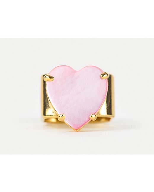 Sabrina Dehoff | Pink Chunky Gold Heart Ring | Lyst