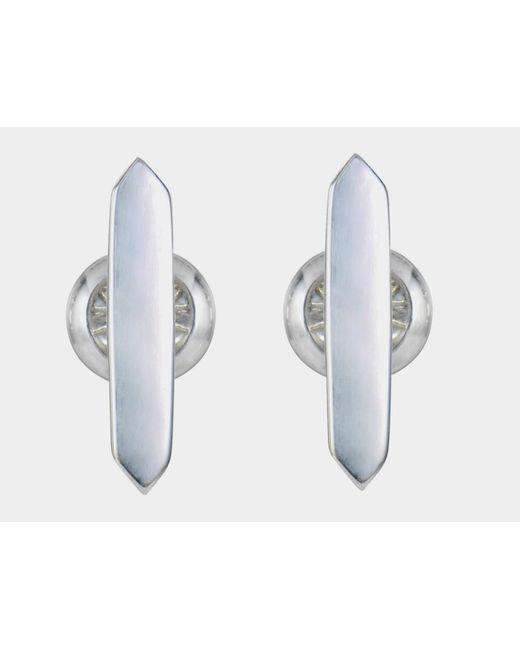 Tada & Toy | Metallic Silver Bar Shape Studs | Lyst