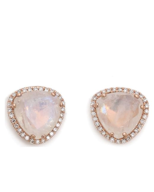 EF Collection | Pink Diamond Stone Slice Stud | Lyst