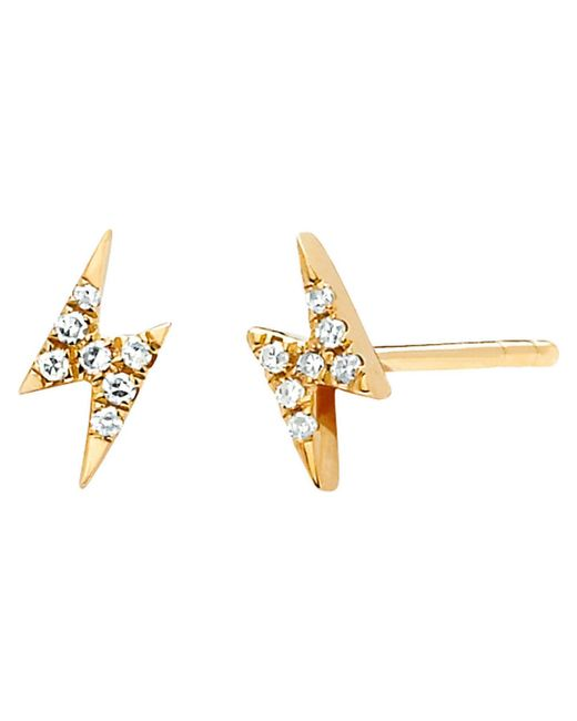 EF Collection | Metallic Diamond Mini Lightening Bolt Earrings | Lyst