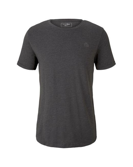 Tom Tailor Denim T-Shirt »T-Shirt mit Logo-Stickerei« in Gray für Herren