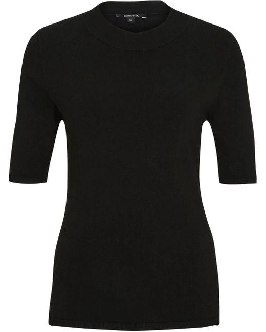 Comma, Black Kurzarmpullover mit schmalem Rippkragen