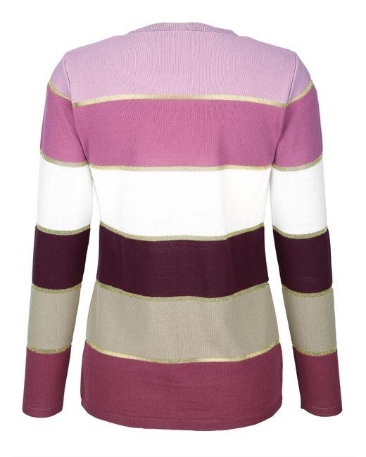 Paola Purple Pullover im Streifendessin