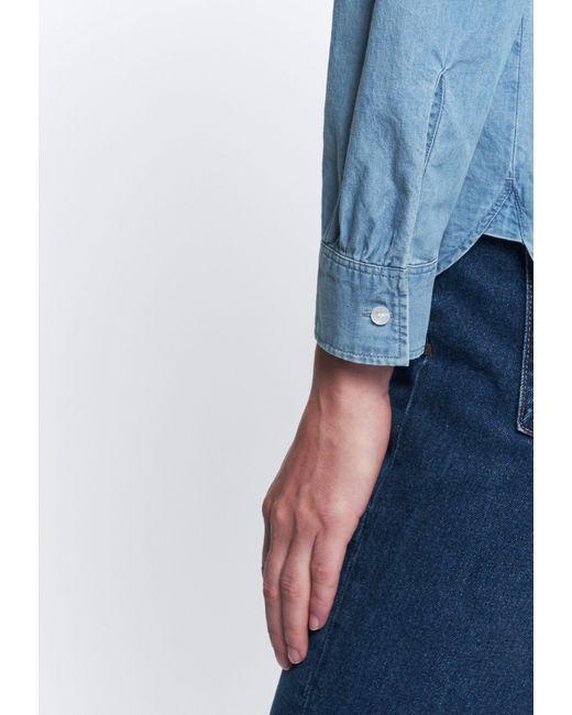 Seidensticker Blue Schlupfbluse Langarm Uni