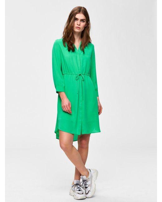 SELECTED Green Feminines Kleid mit langen Ärmeln