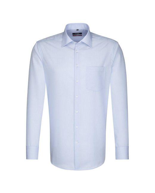 Seidensticker Business Hemd Modern Langarm Kentkragen Uni in Blue für Herren