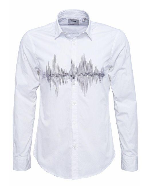 Mexx Langarmhemd Slim Fit mit Frontdruck in White für Herren