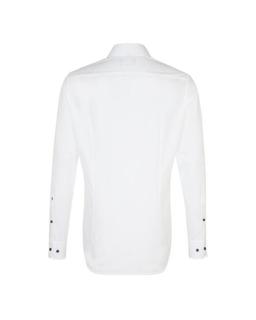 Seidensticker Business Hemd Tailored Langarm Kentkragen Uni in White für Herren