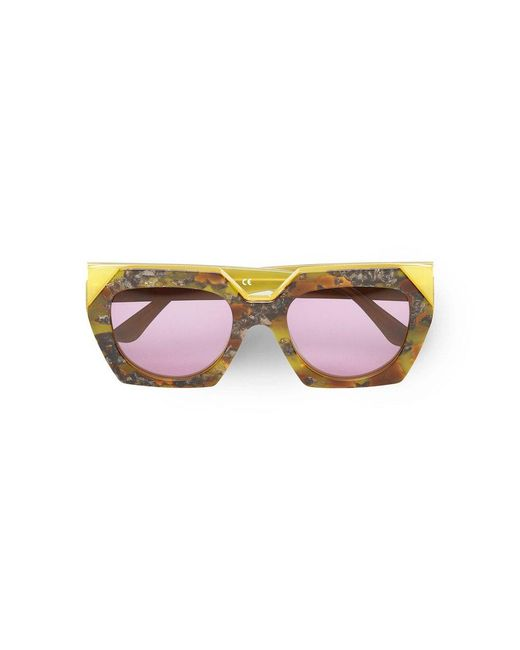 Ganni Brown Double Layered Sunglasses In Maize
