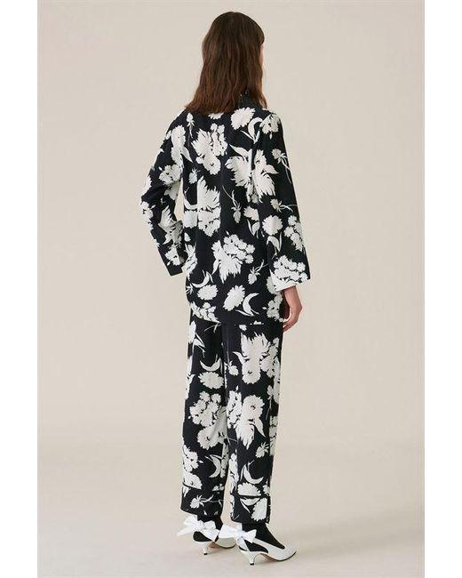 e019036d Ganni Floral High-waist Trousers in Black - Save 57% - Lyst