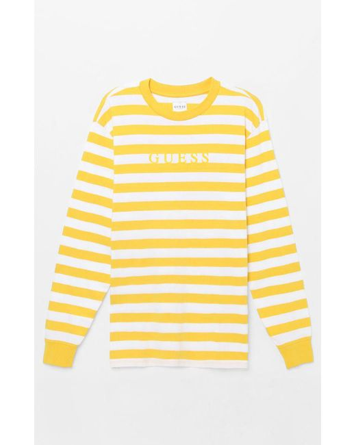 c6734286a022 Guess - Yellow Palm Stripe Long Sleeve T-shirt for Men - Lyst ...