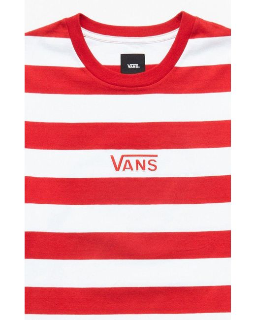 053f7e262b Lyst - Vans Red Classic Stripe Vee T-shirt in Red for Men
