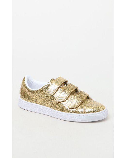 ... 619ff 7d702 PUMA - Metallic Womens Basket Strap Glitter Sneakers ...  clearance sale ... c467be54b5
