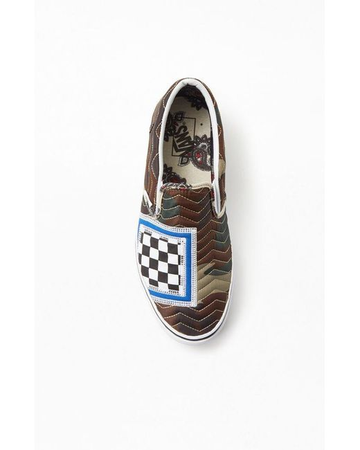 ... Vans - Blue Mixed Quilting Slip-on Shoes for Men - Lyst ...