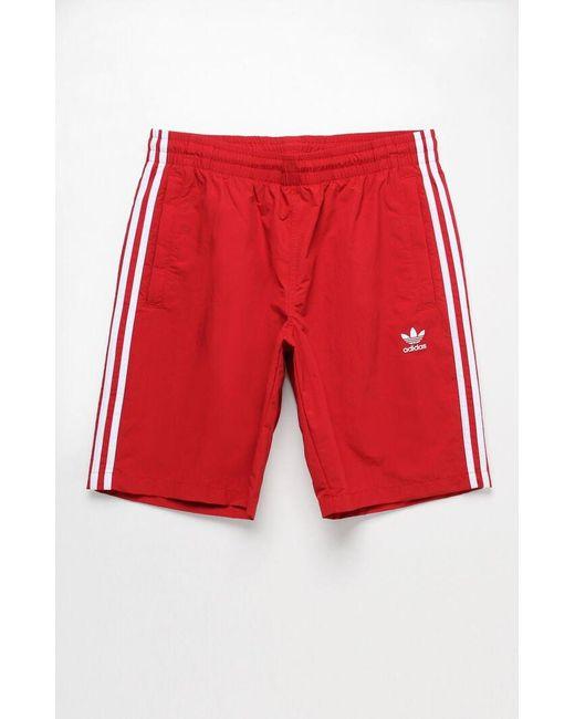 """Adidas 3-stripes Red 20"""" Swim Trunks for men"""