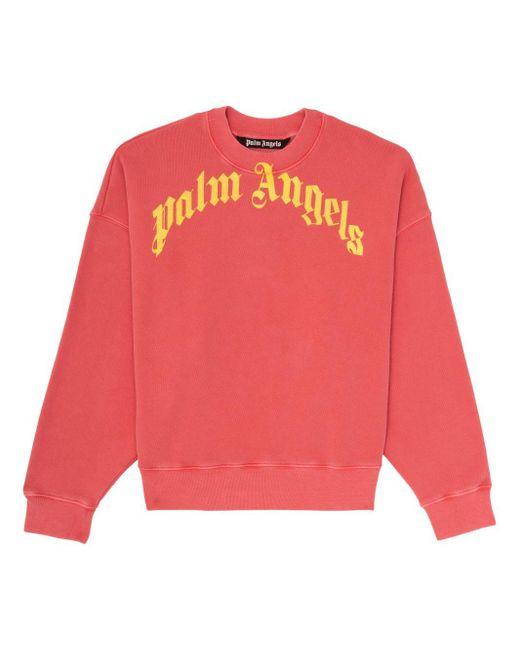 メンズ Palm Angels Vintage Wash ロゴ スウェットシャツ Red