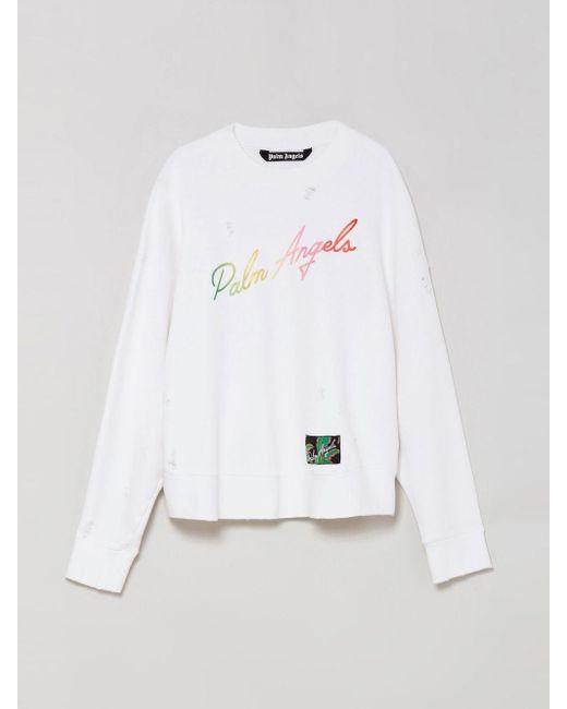 メンズ Palm Angels ロゴ スウェットシャツ White
